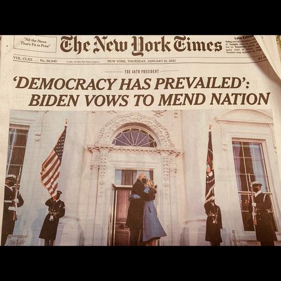 Collectible New York Times Biden Jan 21, 2021 NEW